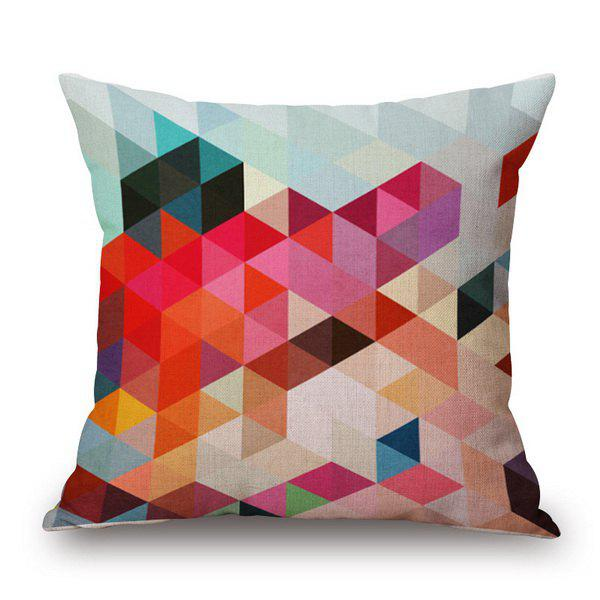 Stylish Colorful Diamond Pattern Square Shape Flax Pillowcase (Without Pillow Inner) - COLORFUL