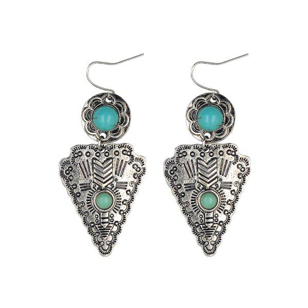 Chic Turquoise Triangle Pendant Earrings For Women