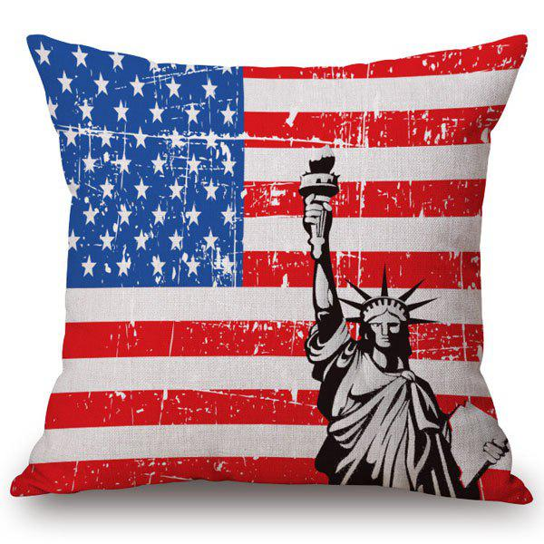 Stylish Floral American Flag Pattern Square Shape Flax Pillowcase (Without Pillow Inner)
