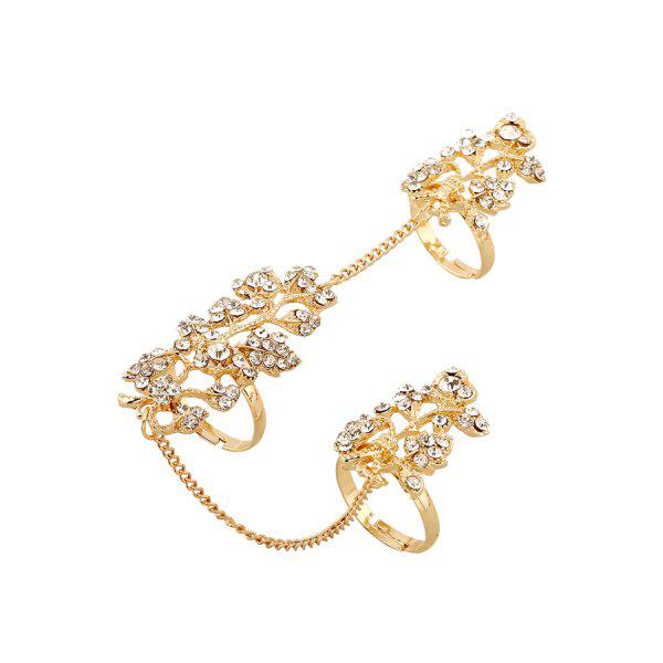 Chic Rhinestone Leaf Shape Ring For Women - GOLDEN