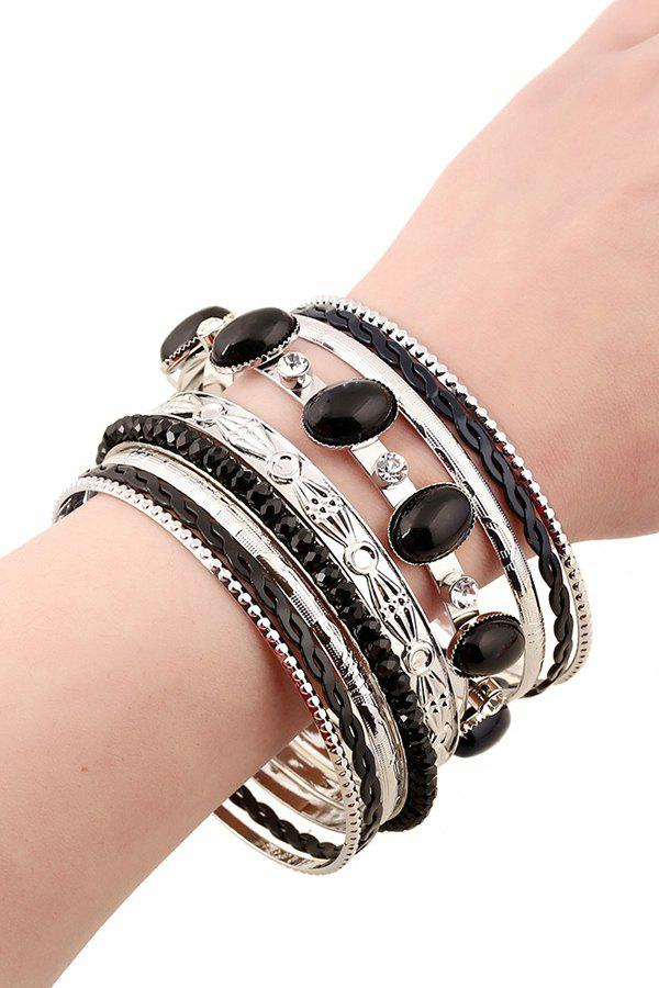 Chic Rhinestone Faux Gem Multilayered Bracelet For Women