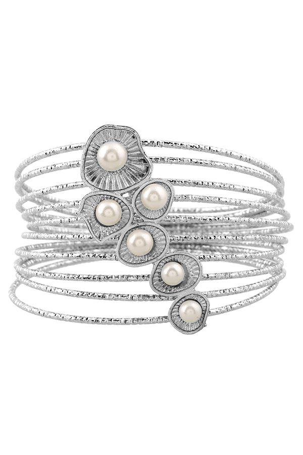 Chic Faux Pearl Multilayered Bracelet For Women - SILVER