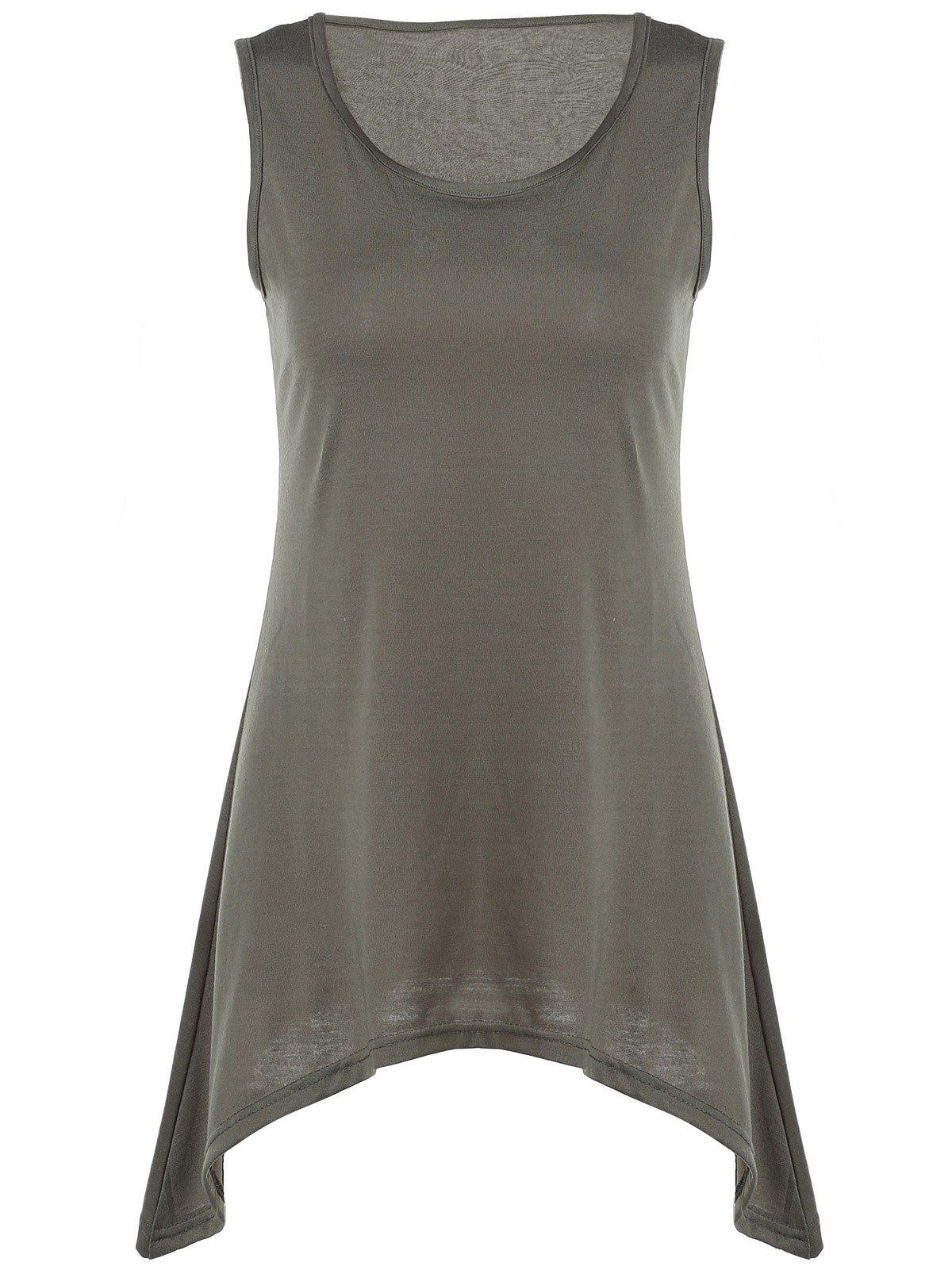 Stylish U Neck Sleeveless Solid Color Asymmetrical Women's Tank Top - ARMY GREEN L