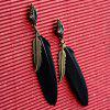 Pair of Rhinestone Feather Leaf Earrings - BLACK
