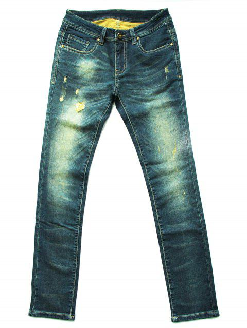 Fashionable Ripped Mid-Waist Jeans For Women - COLORMIX M