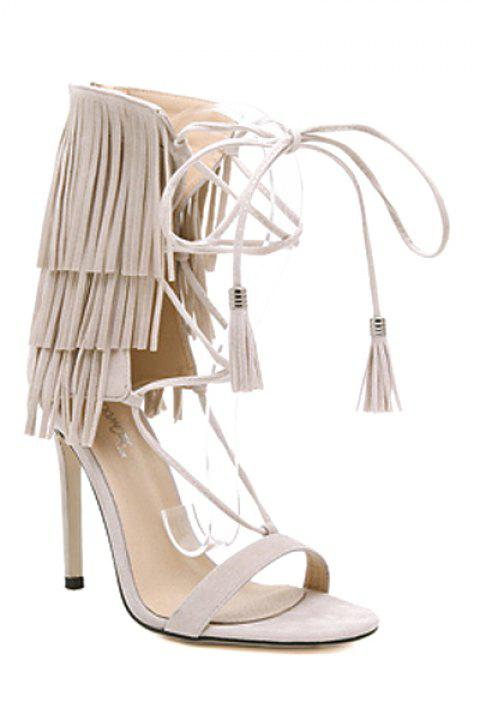 7d07c5d06f8 17% OFF  2019 Trendy Fringe and Lace-Up Design Sandals For Women In ...