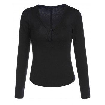 Sexy Women's Plunging Neck Solid Color Long Sleeve T-Shirt - BLACK XL