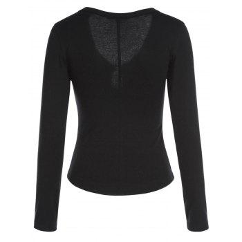 Sexy Women's Plunging Neck Solid Color Long Sleeve T-Shirt - XL XL