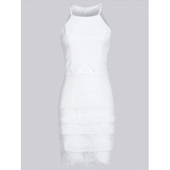 Trendy Jewel Neck Sleeveless Hollow Out Laciness Dress For Women