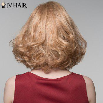 Fluffy Curly Capless Charming Side Bang Medium Siv Hair Human Hair Wig For Women -  GOLDEN BROWN/BLONDE