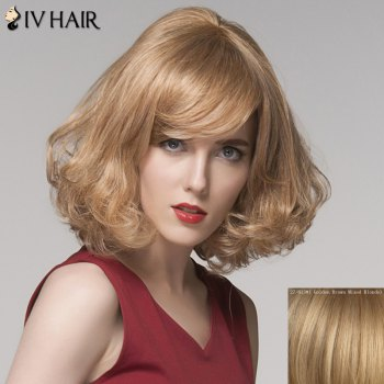 Fluffy Curly Capless Charming Side Bang Medium Siv Hair Human Hair Wig For Women - GOLDEN BROWN WITH BLONDE GOLDEN BROWN/BLONDE