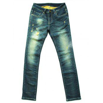Fashionable Ripped Mid-Waist Jeans For Women - COLORMIX XL