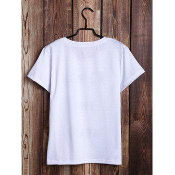 Casual Women's Round Neck Letter Pattern Tee - WHITE S
