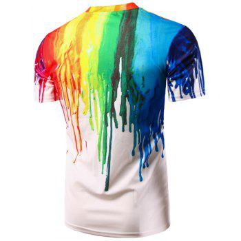 Casual Pullover Colorful Painting T-Shirt For Men - COLORFUL 2XL