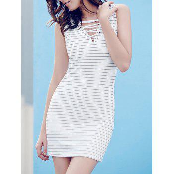 Chic Lace-Up V-Neck Sleeveless Sheath Striped Dress For Women
