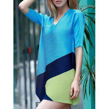 Elegant Color Block 1/2 Sleeve Dress For Women