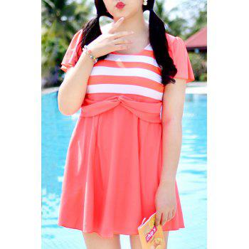 Sweet High Waist Striped One-Piece Dress Swimwear For Women