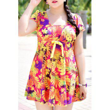 Chic Leafs Print High Waist One-Piece Dress Swimwear For Women
