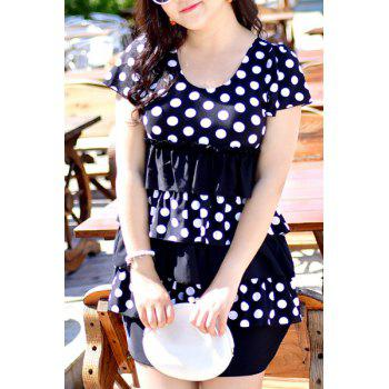 Sweet Polka Dot Printed Layered One-Piece Dress Swimwear For Women