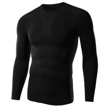 Solid Color Fitted Round Neck Long Sleeve Men's T-Shirt