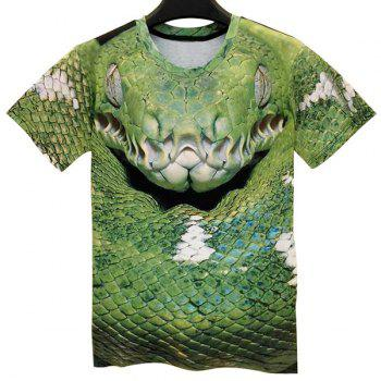 Modish Round Neck 3D Snake Pattern Short Sleeve Men's T-Shirt