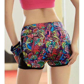 Active Style Elastic Waist Colorful Printed Women's Yoga Shorts - S S