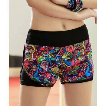 Active Style Elastic Waist Colorful Printed Women's Yoga Shorts
