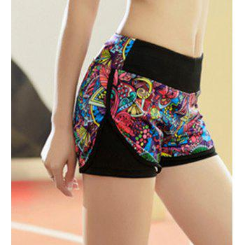 Active Style Elastic Waist Colorful Printed Women's Yoga Shorts - M M