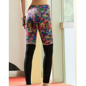Active Style Elastic Waist Skinny Spliced Printed Colorful Women's Yoga Pants - COLORMIX XL
