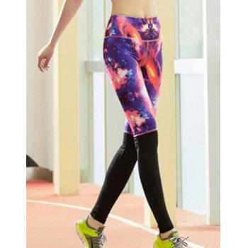 Active Style Elastic Waist Skinny Galaxy Spliced Women's Yoga Pants