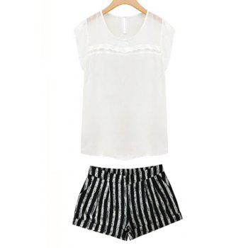 Stylish Round Collar Short Sleeve White Chiffon Blouse + Striped Shorts Women's Twinset