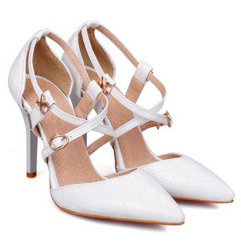 Stylish Cross Straps and Embossing Design Women's Pumps - WHITE 39