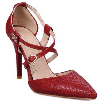 Stylish Cross Straps and Embossing Design Women's Pumps