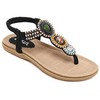 Leisure Elastic and Beading Design Women's Sandals