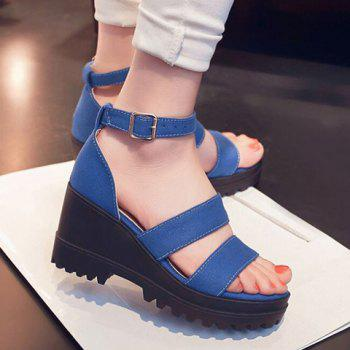 Stylish Wedge Heel and Canvas Design Women's Sandals, BLUE, 3 in ...