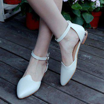 Trendy Rhinestone and Solid Colour Design Women's Flat Shoes - WHITE 35