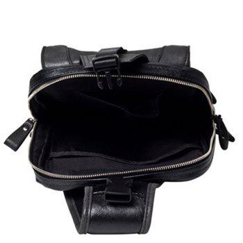 Trendy Metal and Black Color Design Men's Messenger Bag - BLACK