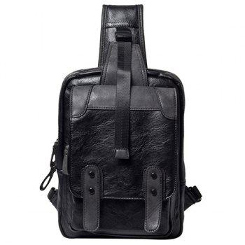 Trendy Metal and Black Color Design Men's Messenger Bag