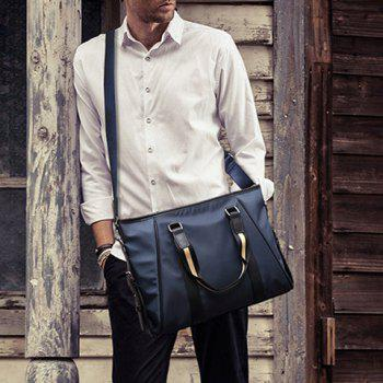 Fashionable PU Leather and Color Block Design Men's Briefcase - PURPLISH BLUE