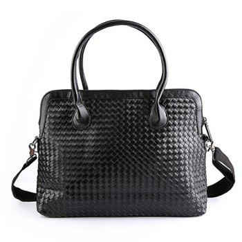 Fashionable Black Color and Weaving Design Men's Briefcase - BLACK BLACK