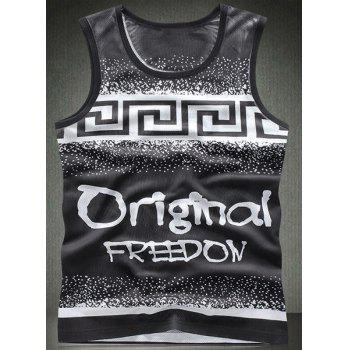 Modish Round Neck Letters Pattern Breathable Sleeveless Men's Tank Top