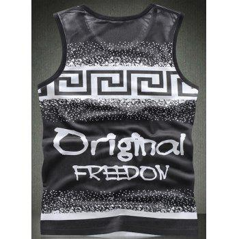 Modish Round Neck Letters Pattern Breathable Sleeveless Men's Tank Top - 2XL 2XL