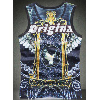Trendy Round Neck Letters Print Bird Pattern Breathable Sleeveless Men's Tank Top - COLORMIX M