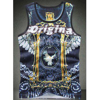 Trendy Round Neck Letters Print Bird Pattern Breathable Sleeveless Men's Tank Top
