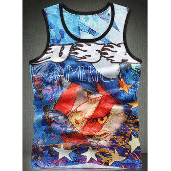 Trendy Round Neck Colorful 3D Letters Pattern Breathable Sleeveless Men's Tank Top