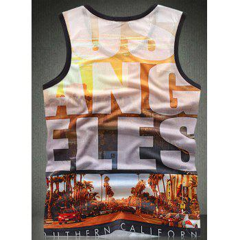 Trendy Round Neck Letters Pattern Breathable Sleeveless Men's Tank Top - L L