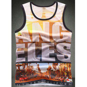 Trendy Round Neck Letters Pattern Breathable Sleeveless Men's Tank Top