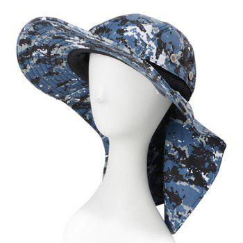 Stylish Button Sun-Resistant Drawstring Men's Digital Camouflage Bucket Hat