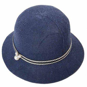 Elegant Faux Pearl Decorated Solid Color Dome Beach Straw Hat For Women