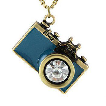 Rhinestone False Camera Pendant Sweater Chain - LAKE BLUE